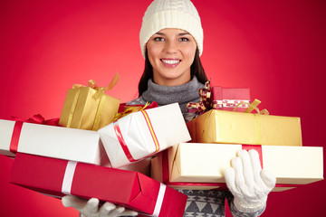 Girl with giftboxes