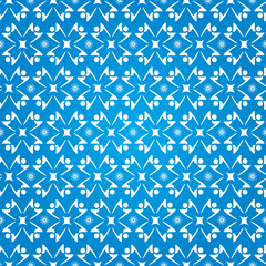 Fond Motif Ronde de Personnages Stylisés Etoiles Bleu et Blanc