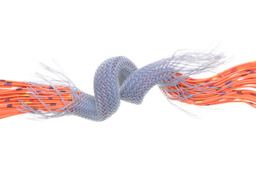 Orange electrical wires with cable shield