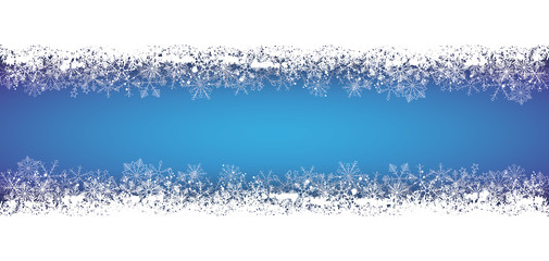 Long Blue Christmas Card Snowflakes