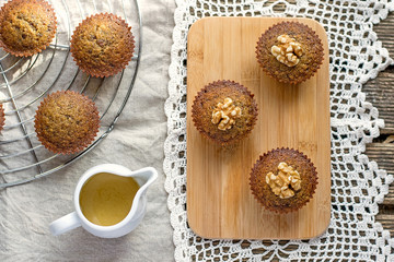 Moist date muffins with homemade toffee caramel