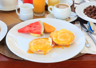 Eggs benedict served for breakfast