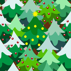 Christmas theme pine tree forest close seamless pattern