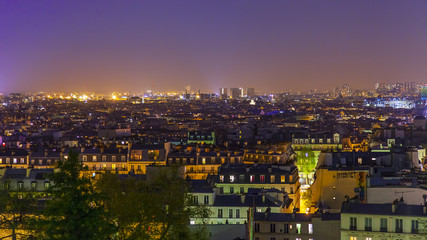 Paris, France. A view of the night city from Montmartre