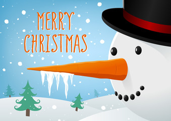 Merry Christmas landscape with Snowman