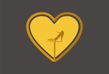Love fashion shopping icon logo vector