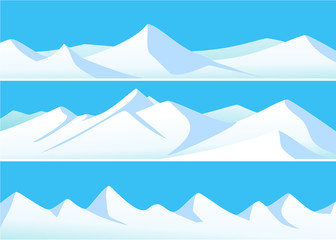 Winter banners with high mountains