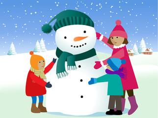 Group of cheerful children sticking snowman
