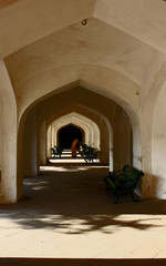 Architectural detail of the internal corridor of Amber Fort