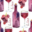 watercolor wine seamless