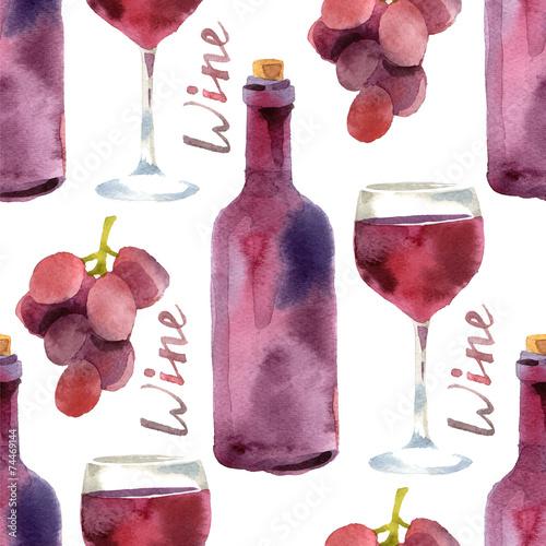 Cotton fabric watercolor wine seamless