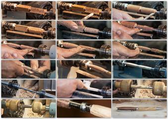 Phases de création d'un stylo au tour à bois