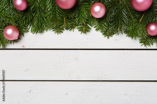 canvas print picture Weihnachtlich geschmückte Tannenzweige