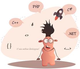 Cute monster programmer.