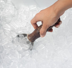Woman's hand holding spoon in ice bucket