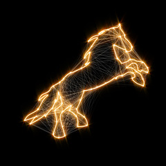 Magic shiny golden horse. Connected dots