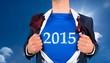 Composite image of businessman opening his shirt superhero style