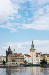Cityscape of Prague with Vltava river