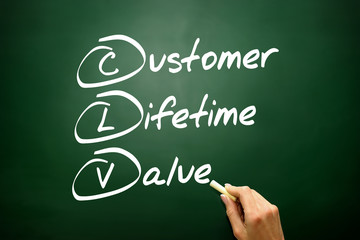 Customer Lifetime Value (CLV) acronym on blackboard