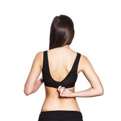 Woman take off bra