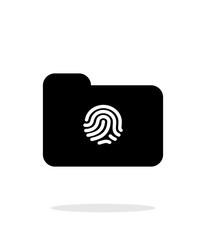 Thumbprint on folder icon on white background.
