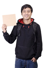 Asian student with blank placard