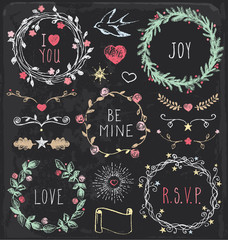 Hand Drawn Vintage Chalkboard Festive Wreaths and Elements