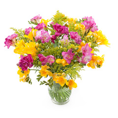 Freesia flower bunch in a vase