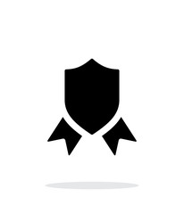 Shield with ribbon simple icon on white background.