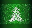 Frozen tree on green background