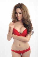 Young beautiful Sexy Asian model wearing elegant lingerie