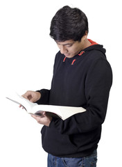 Young Asian male reading book