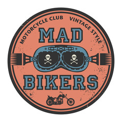 Grunge rubber stamp with the words Mad Bikers, vector