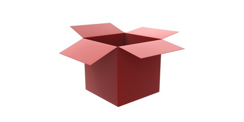 red 3D opened cardboard box isolated over white background