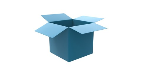 blue azzure 3D cardboard box isolated over white background