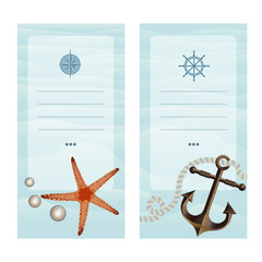Business cards in a nautical theme.