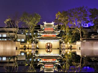 CN Nanjing Temple reflection sunset