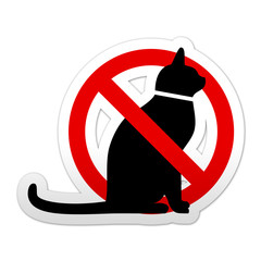 Pegatina simbolo prohibido gatos