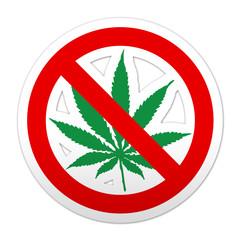Pegatina simbolo prohibido marihuana