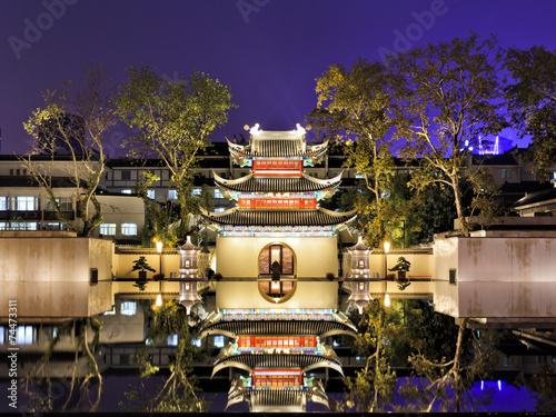 Papiers peints Chine CN Nanjing Temple reflection sunset