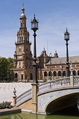 Panoramic of the Plaza of Spain, in Sevilla, Spain
