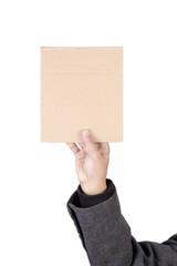 Hand holding blank placard