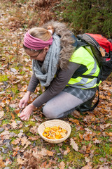 Junge Frau sammelt Pfifferlinge im Wald