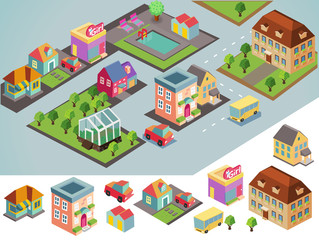 Sunny isometric environment. vector illustration