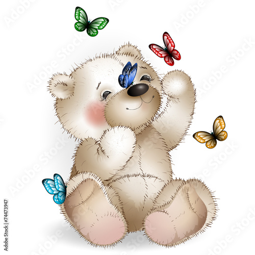 Happy Teddy bear and butterfly