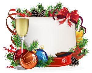 Paper scroll with glass of champagne and Christmas balls
