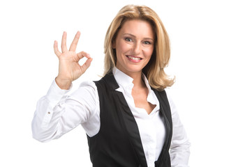 Laughing business woman in white shirt