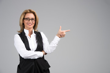 Laughing business woman in white shirt.