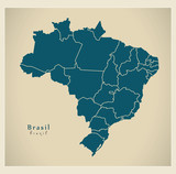 Modern Map - Brasil with districts BR