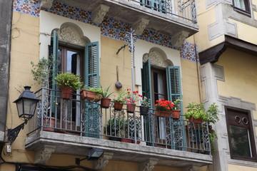 Decorated balcony, mediterranean climate flora, Barcelona, Spain
